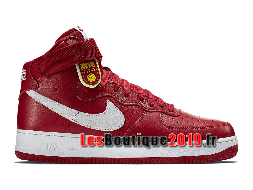 Nike Air Force 1 High Retro Nai Ke QS China Edition Chaussures Nike Basket Pas Cher Pour Homme Rouge Blanc 743546-600