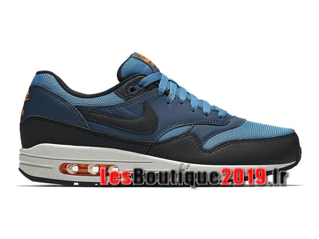 wholesale dealer 7d018 92a9a Nike Air Max 1 87 Essential Bleu Noir Chaussures de Running Pas Cher Pour  Homme ...