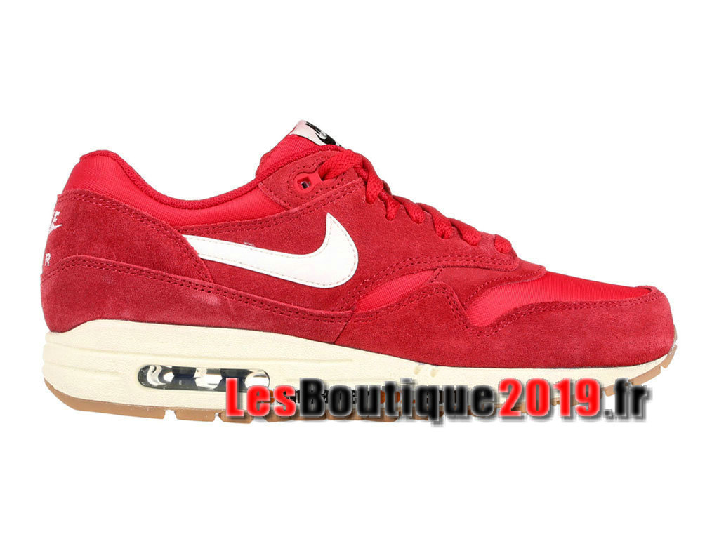 Nike Air Max 1/87 Essential Rouge Blanc Chaussures de Running Pas Cher Pour Homme 537383-611