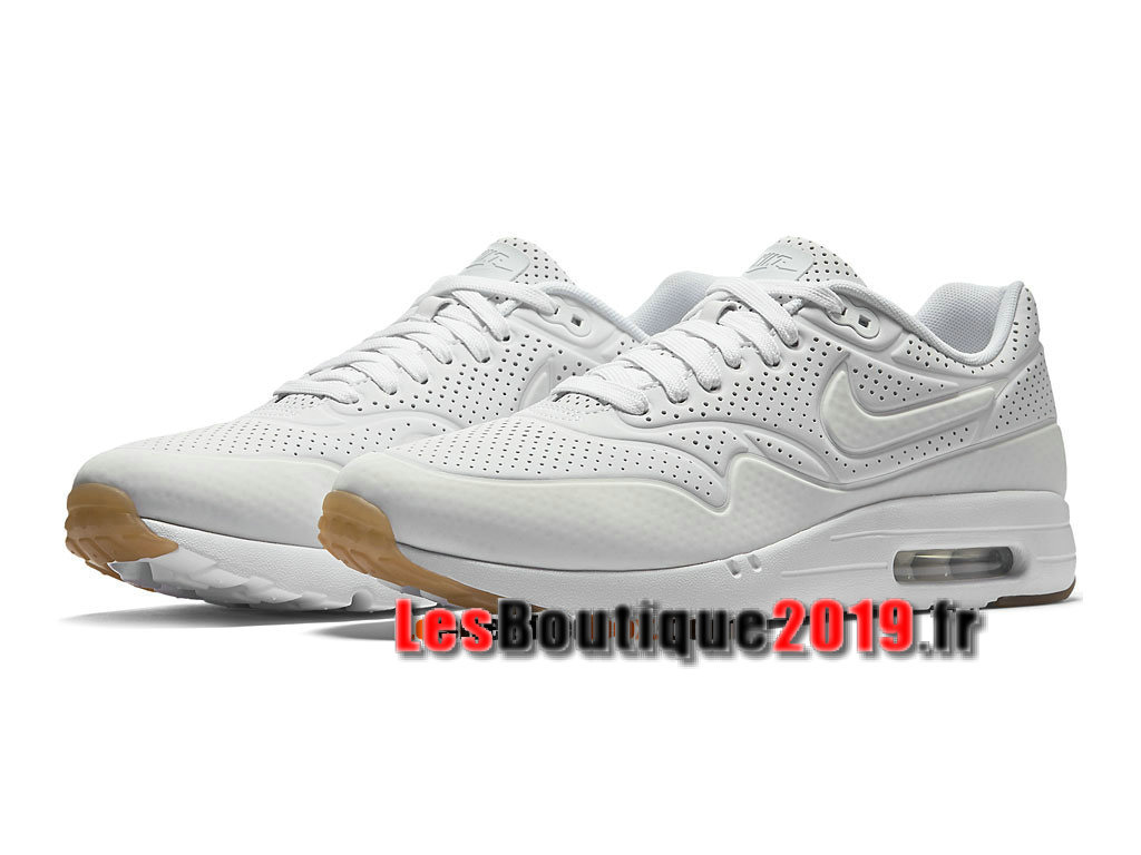 Nike Air Max 1 Ultra Moire CH GS Blanc Chaussures Nike Running Pas Cher Pour Femme/Enfant 724978-111