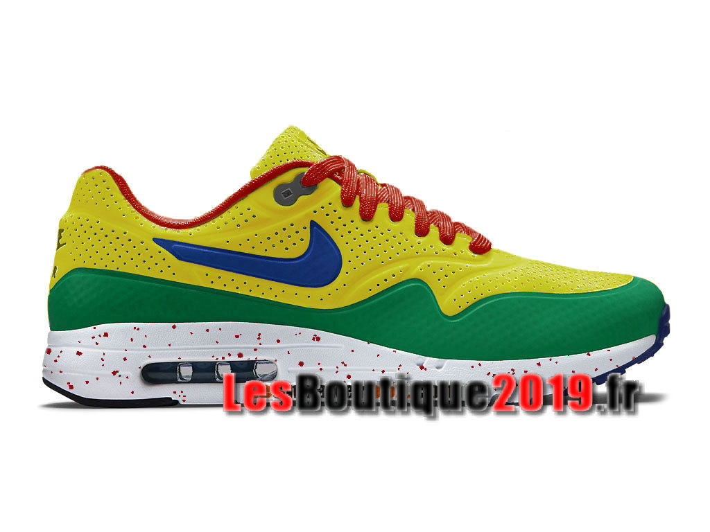 Nike Air Max 1 Ultra Moire iD Vert Jaune Chaussures de BasketBall Pas Cher Pour Homme 705297-888iD