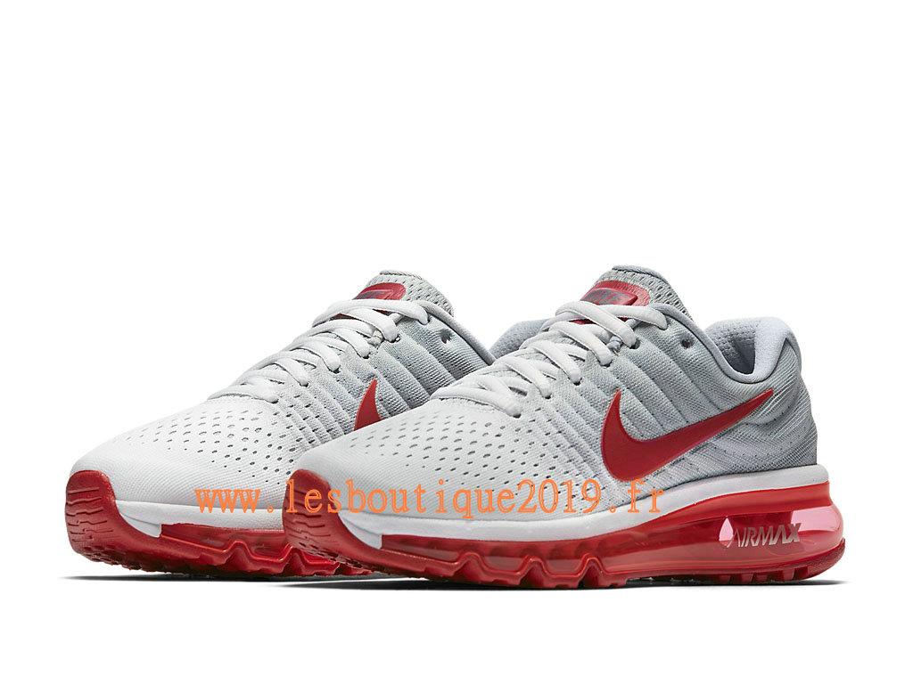 Nike Air Max 2017 GS Blanc Rouge Chaussures Nike Running Pas Cher Pour Femme/Enfant 851622_101