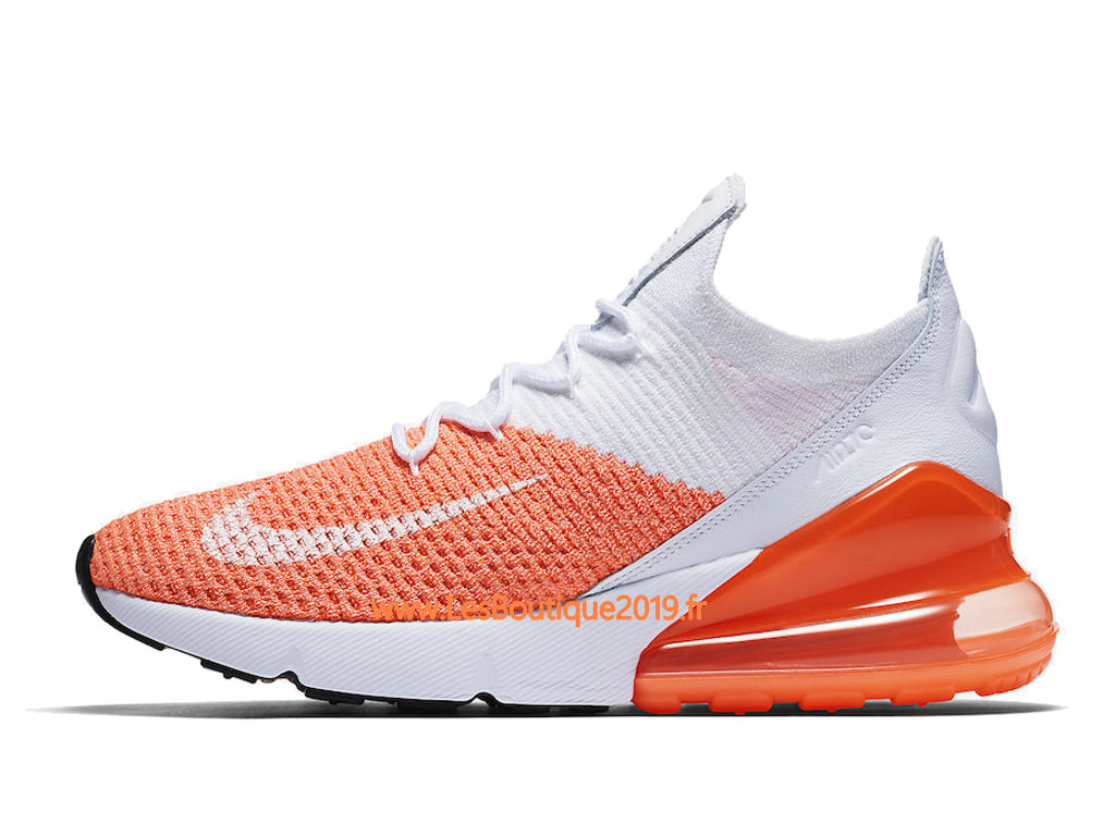 Nike Air Max 270 Flyknit Orange Blanc Chaussure Nike Basket Pas Cher Pour Homme AH6803-800