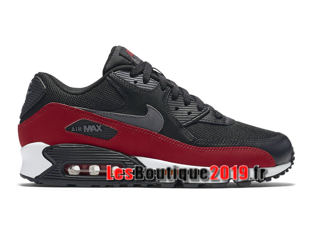 Nike Air Max 90 Essential GS Noir Rouge Chaussures Nike Running Pas Cher Pour Femme/Enfant 537384-062G
