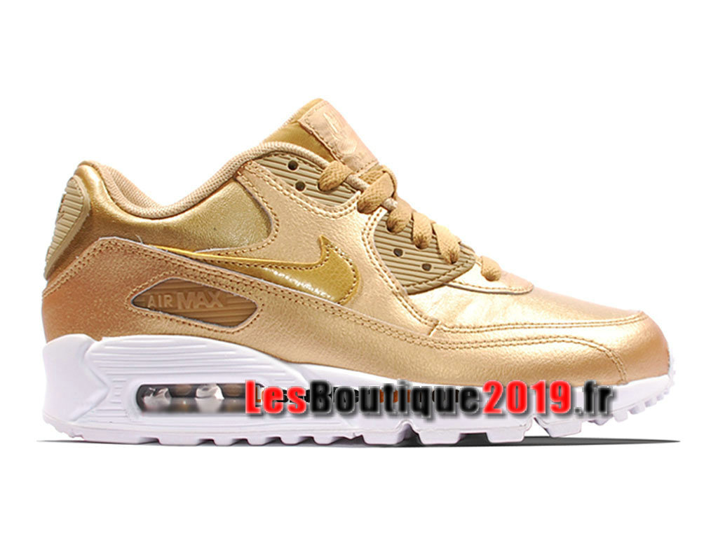 Nike Air Max 90 Leather/LTR GS Or Blanc Chaussures Nike Running Pas Cher Pour Femme/Enfant 724852-700