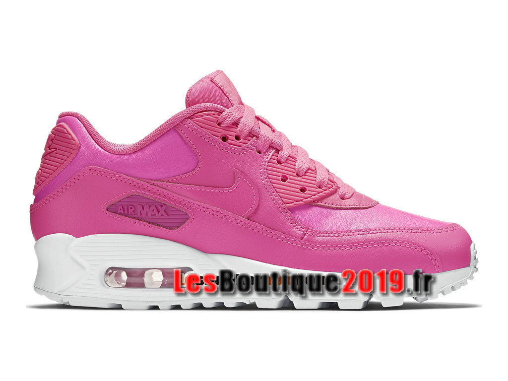 Nike Air Max 90 Leather/LTR GS Rose Blanc Chaussures Nike Running Pas Cher Pour Femme/Enfant 724852-600