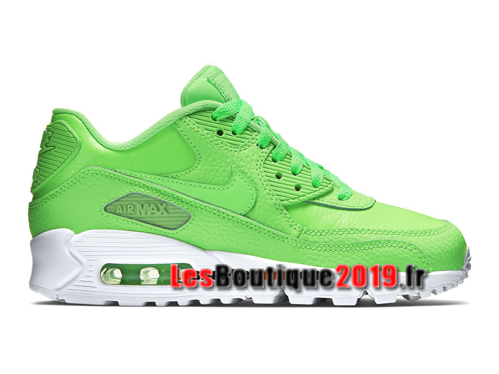 Nike Air Max 90 Leather/LTR GS Vert Blanc Chaussures Nike Running Pas Cher Pour Femme/Enfant 724821-300