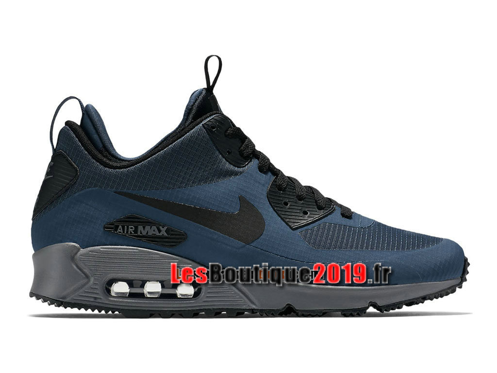 Nike Air Max 90 Mid Winter Chaussures Nike Running Pas Cher Pour Homme Bleu Noir 806808-400