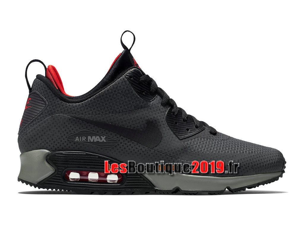 Nike Air Max 90 Mid Winter Chaussures Nike Running Pas Cher Pour Homme Noir Rouge 806850-006