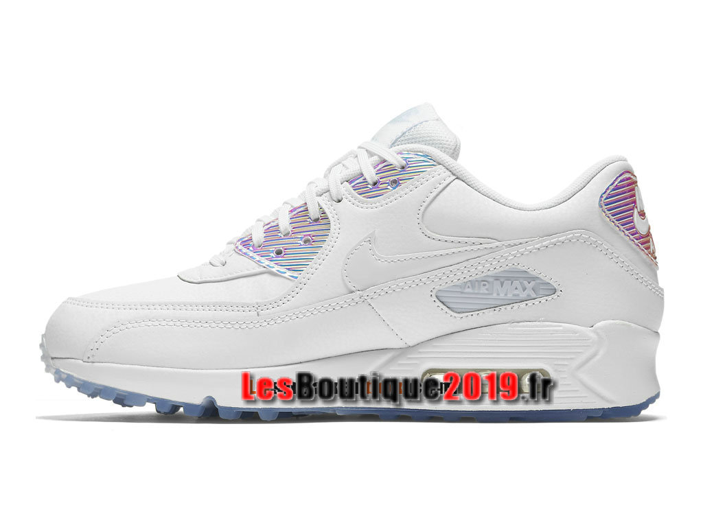 buy popular 9a225 560bf ... Nike Air Max 90 Premium Chaussures Nike Prix Pas Cher Pour Homme Blanc  443817-104H ...