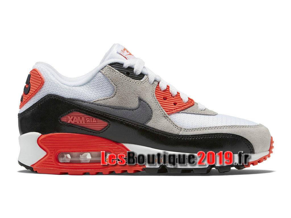 super cute 9b7c1 1ea66 Nike Air Max 90 Premium Mesh GS Blanc Rouge Chaussures Nike Basket Pas Cher  Pour Femme ...