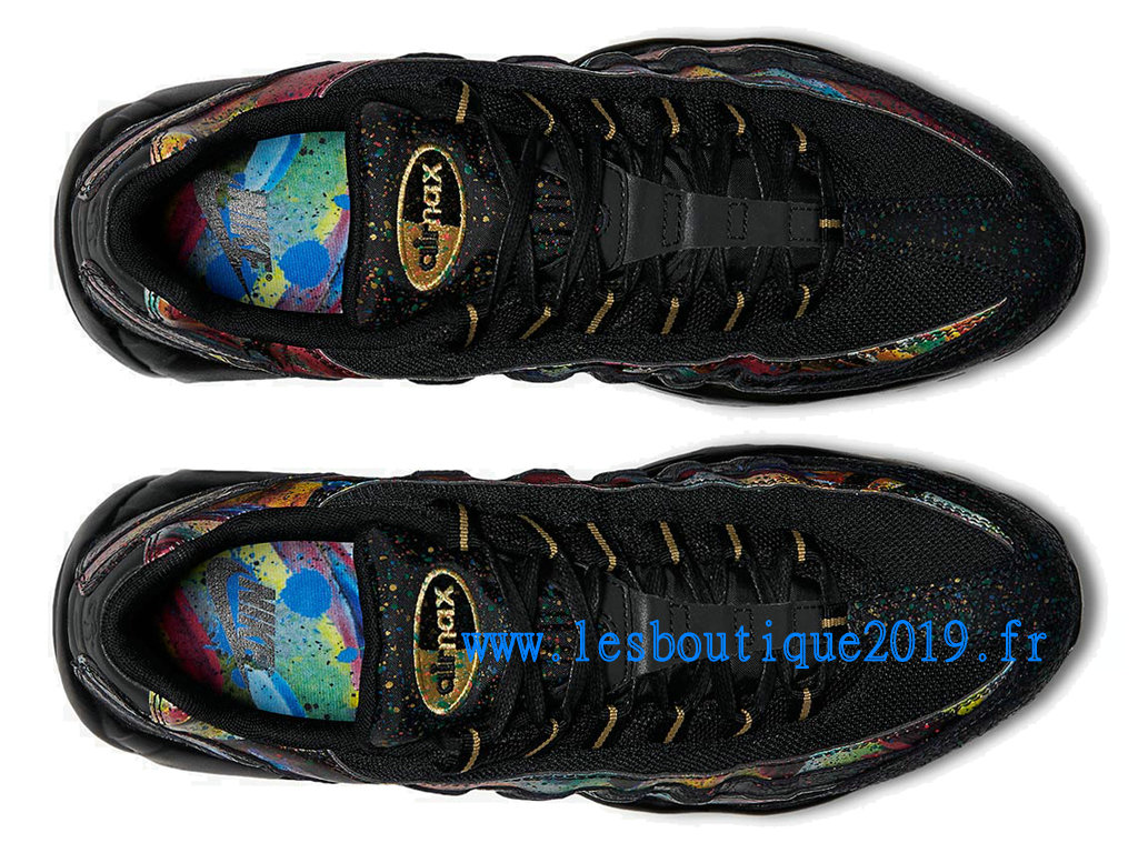 0bbd54e73c18ec ... Nike Air Max 95 Black Gold Cobalt Blaze Chaussures Nike Sportswear Pas  Cher Pour Homme AT6142 ...