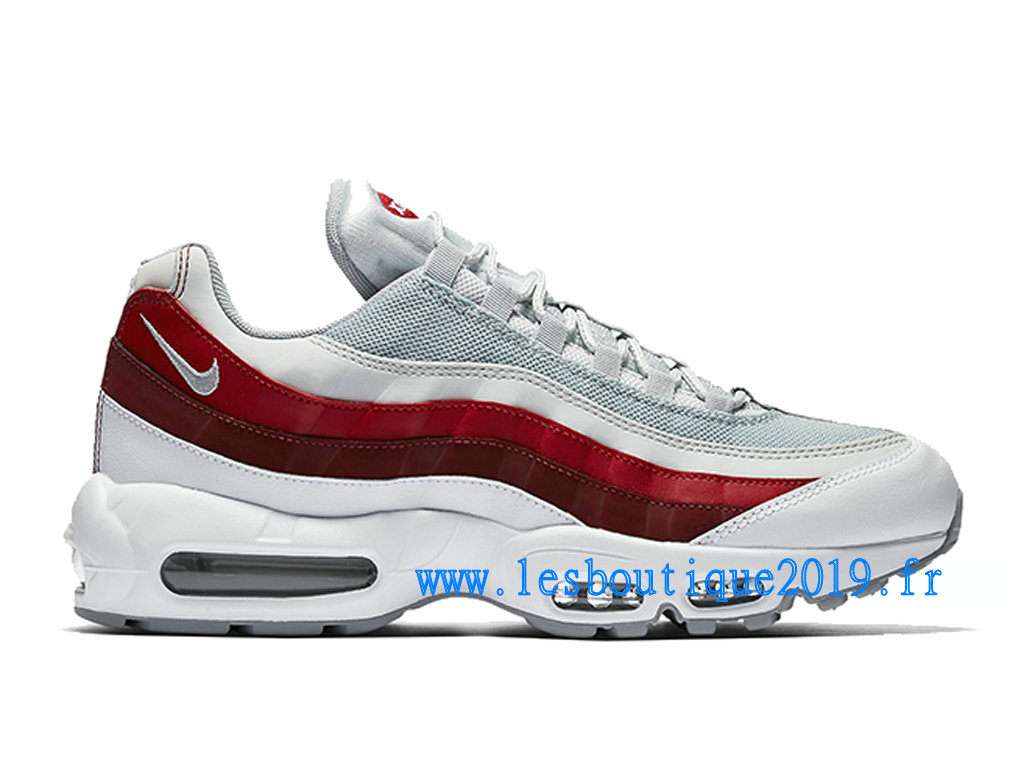 Nike Air Max 95 Essential Blanc Rouge Chaussures Nike Sportswear Pas Cher Pour Homme 749766-103