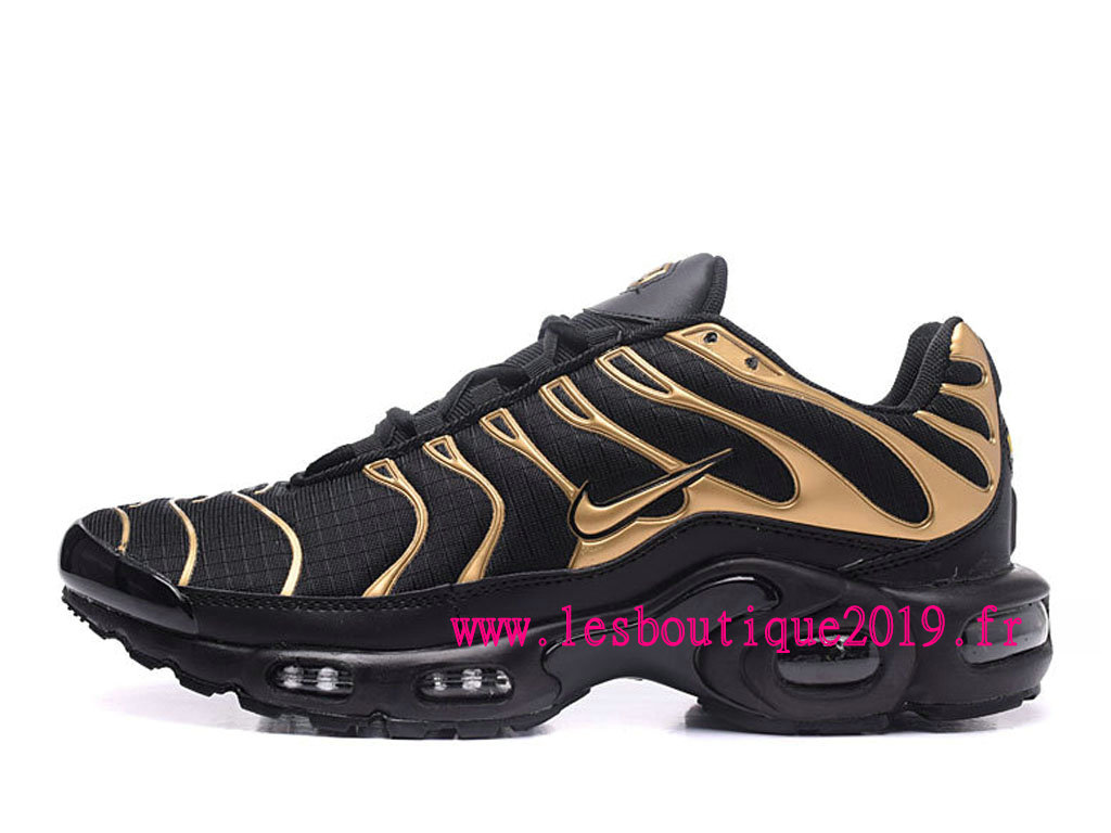 Nike Air Max Plus Noires Or Chaussures Nike Running Pas Cher Pour Homme