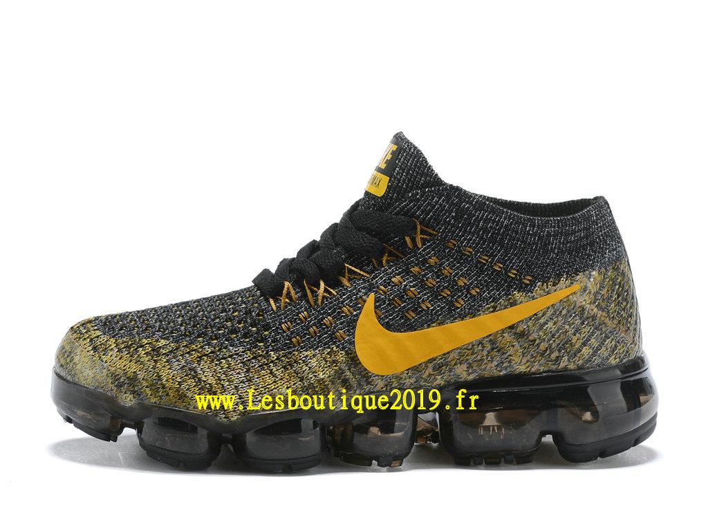 e5d6b02681378 Nike Air Vapormax Chaussures Officiel Running 2018 Pas Cher Pour Enfant Or  Noir ...