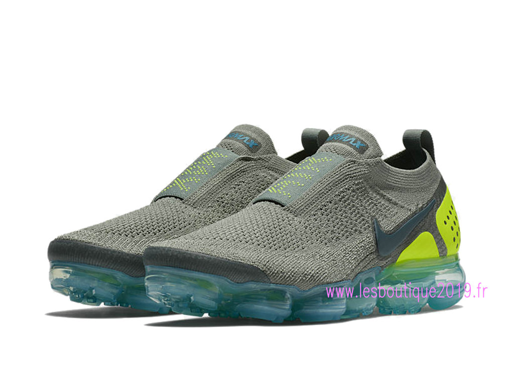 new styles 62c9a 1af1d ... Nike Air VaporMax Flyknit Moc 2 Gris Bleu Chaussures Nike Running Pas  Cher Pour Homme AH7006 ...