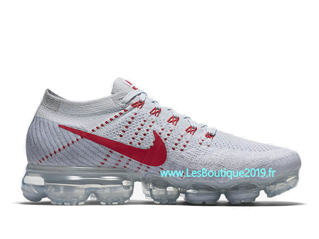 Nike Air Vapormax Flyknit Pure Platinum Blanc Rouge Chaussure Nike 2018 Pas Cher Pour Homme 849558-004