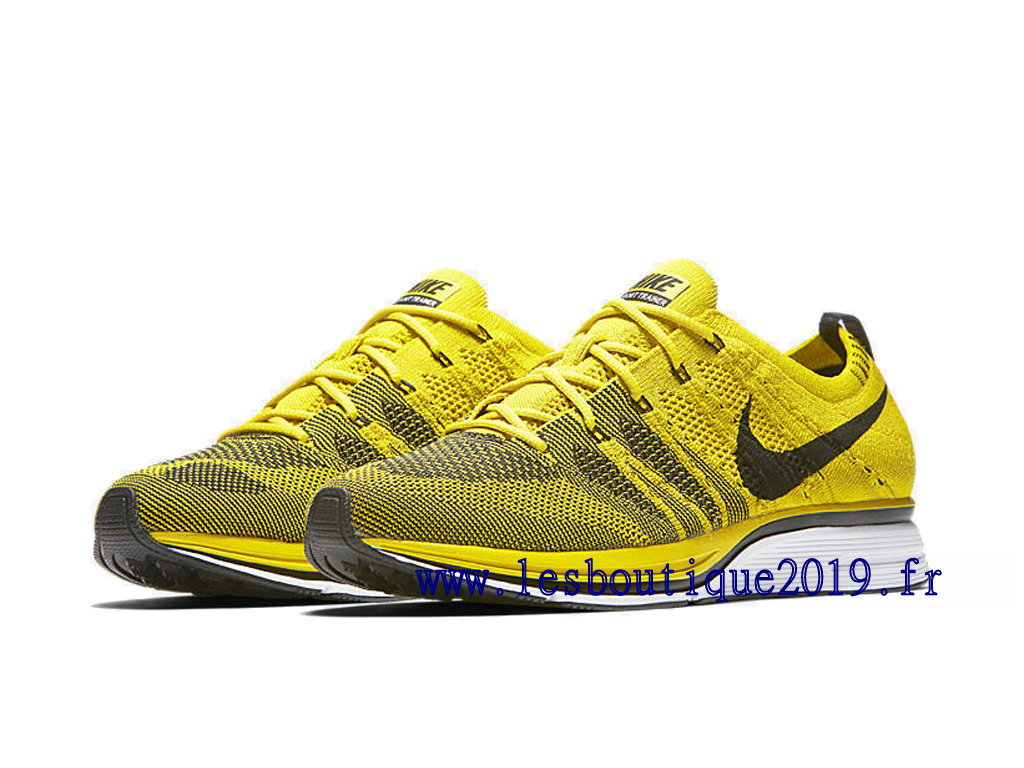sports shoes 46910 2a37f ... Nike Flyknit Trainer Bright Citron Jaune Noir Chaussures Nike Running  Pas Cher Pour Homme AH8396- ...