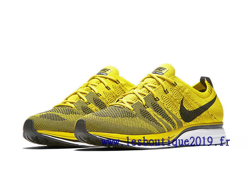 sports shoes 2fefa a889e ... Nike Flyknit Trainer Bright Citron Jaune Noir Chaussures Nike Running  Pas Cher Pour Homme AH8396- ...