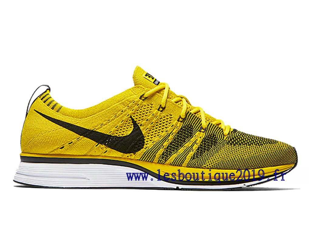 Nike Flyknit Trainer Bright Citron Jaune Noir Chaussures Nike Running Pas Cher Pour Homme AH8396-700