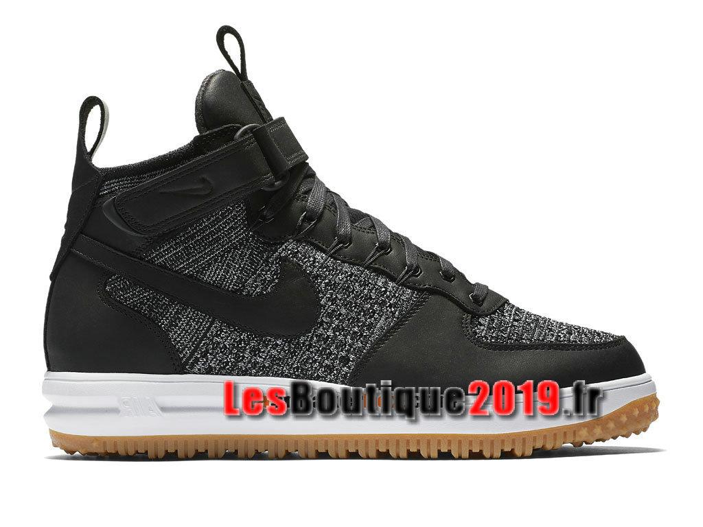 c412fc517e6d2e Nike Lunar Force 1 Flyknit Workboot Chaussures Nike Prix Pas Cher Pour Homme  Noir Blanc 855984