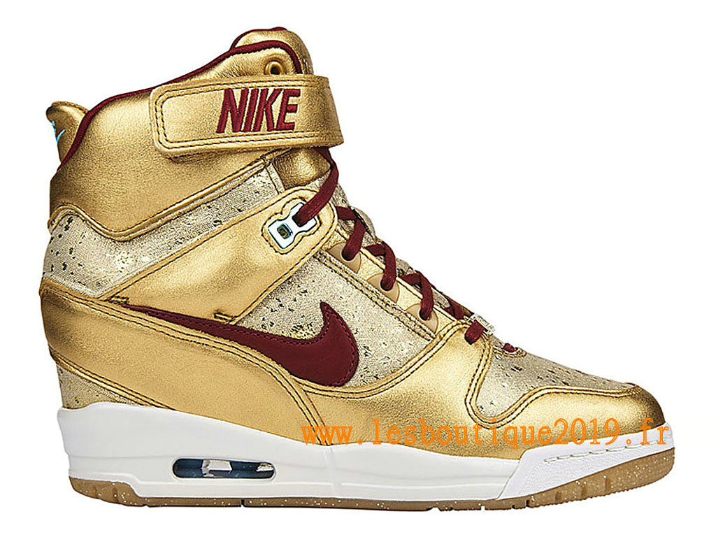 Nike Revolution Sky Hi BHM GS Chaussures Nike Basket Pas Cher Pour Femme Or Rouge 649460-700