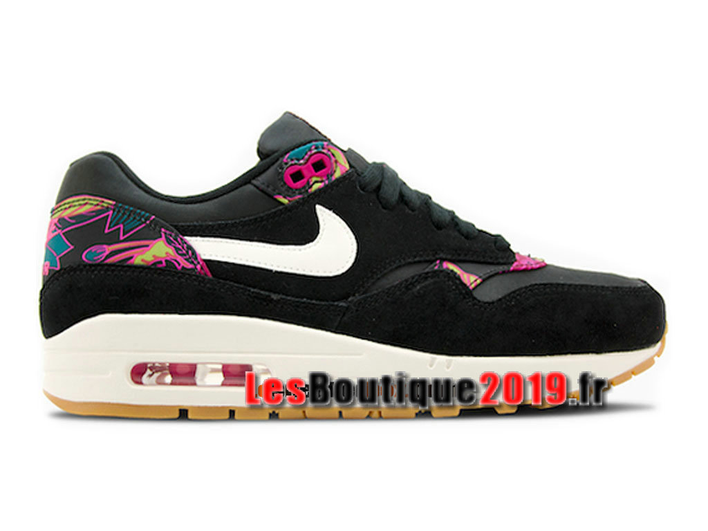 differently 46965 3576f Nike Wmns Air Max 1/87 Print Noir Rose Chaussures Nike 2018 Pas Cher Pour  ...