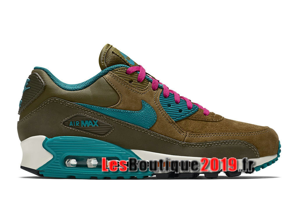 official photos 483c2 32e55 Nike Wmns Air Max 90 Leather LTR Brun Bleu Chaussures Nike Running Pas Cher  Pour ...