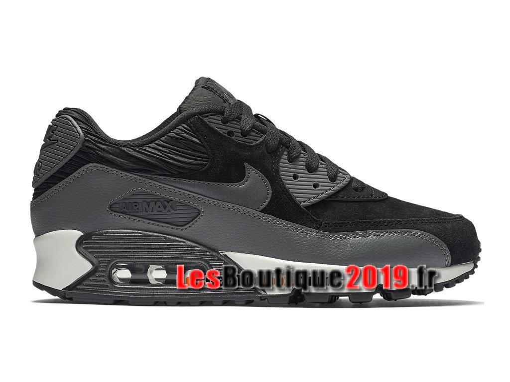 1bd9ab346d393 Nike Wmns Air Max 90 Leather LTR Noir Gris Chaussures Nike Basket Pas Cher  Pour ...