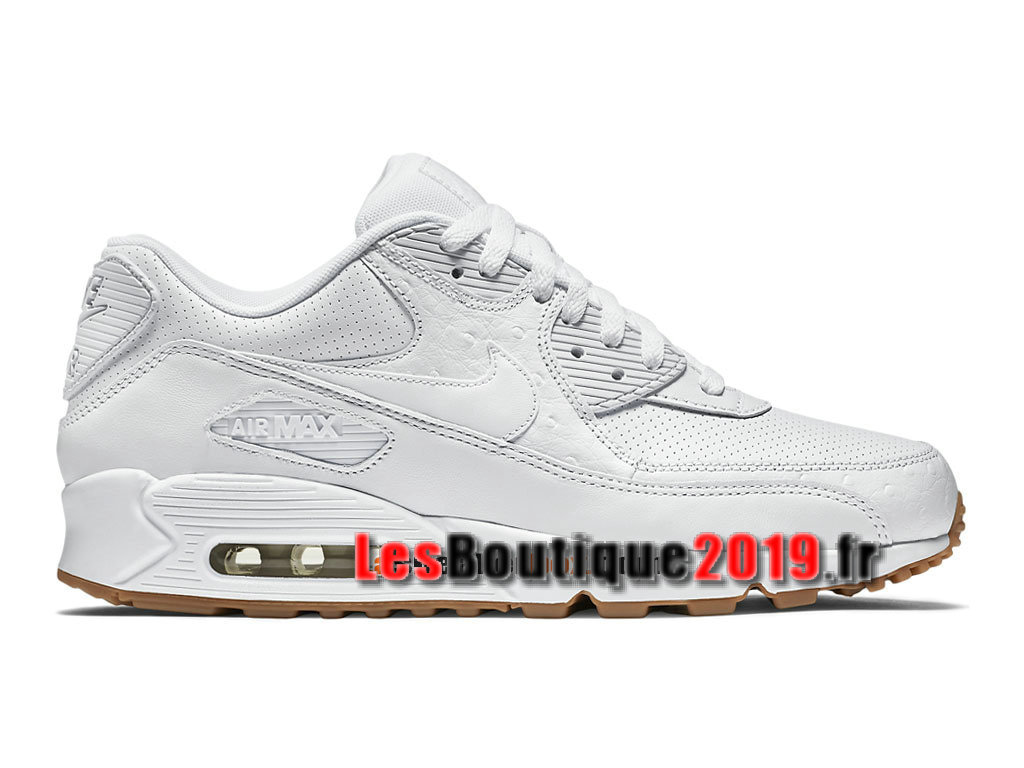 Nike Wmns Air Max 90 Leather PA White Ostrich Chaussures Nike Sportswear Pas Cher Pour Femme/Enfant 705012-111G
