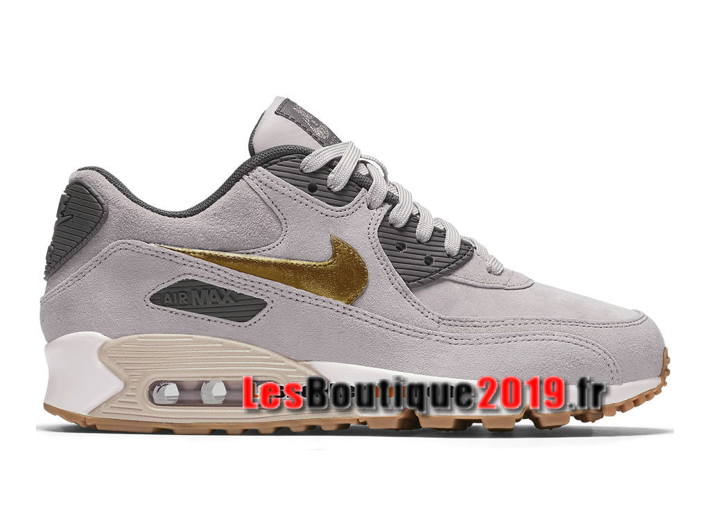 Nike Wmns Air Max 90 Premium Suede Gris Or Chaussures Nike Running Pas Cher Pour Femme/Enfant 818598-200