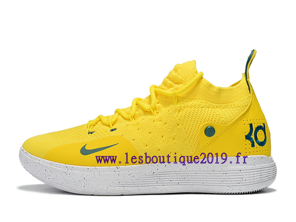 Nike Zoom KD11 EP Jaune Blanc Chaussure de BaskeBall Pas Cher Pour Homme AO2605-ID7
