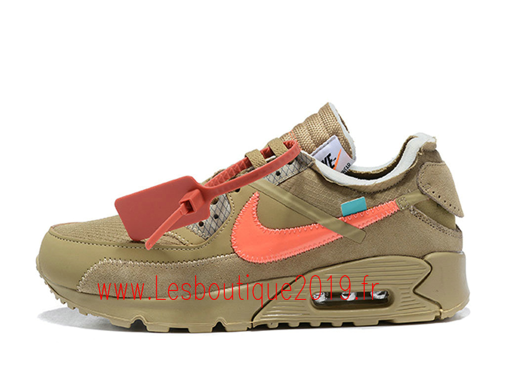 Off-White x Nike Air Max 90 Desert Ore Chaussures Officiel 2019 Pas Cher Pour Homme Brun Blanc AA7293-200
