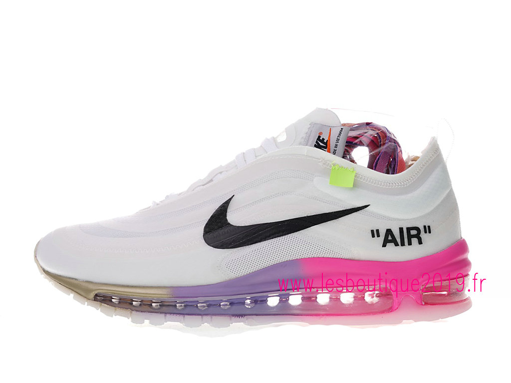 pretty nice 698f2 2ca68 Off-White x Nike Air Max 97 GS Blanc Noir Chaussures Nike Running Pas Cher  ...