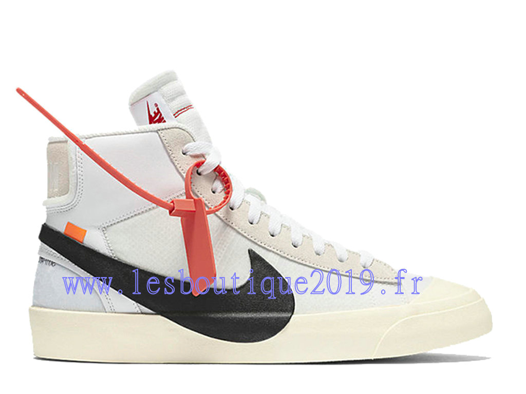 Off-White x Nike Blazer Mid Blanc Noir Chaussures Nike Running Pas Cher Pour Homme AA3832-100