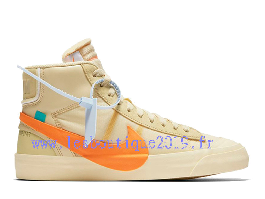Off-White x Nike Blazer Mid Brun Orange Chaussures Nike Running Pas Cher Pour Homme AA3832-700