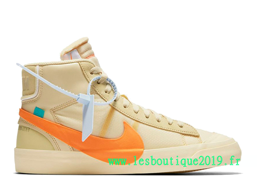 Off-White x Nike Blazer Mid GS Brun Orange Chaussures Nike Running Pas Cher Pour Femme AA3832-700