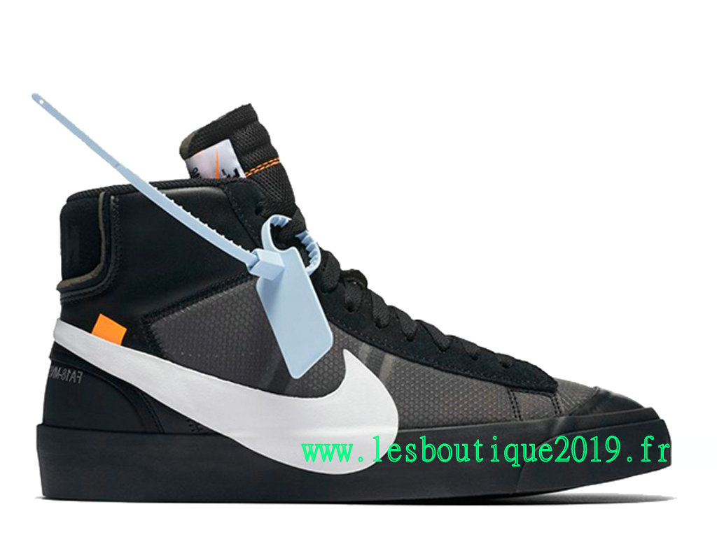 Off-White x Nike Blazer Mid GS Noir Blanc Chaussures Nike Running Pas Cher Pour Femme AA3832-001